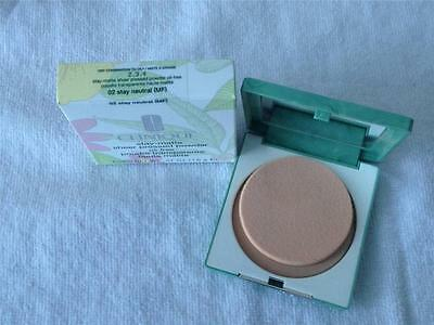 New In Box  Clinique Stay-Matte Sheer Pressed Powder Oil Free 02 Stay Neutral