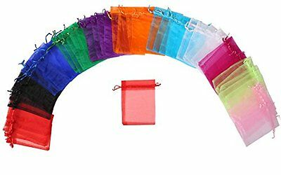 """ZUUC Colorful Organza Drawstring Pouch Bag 4''W x6"""" L Pack of 100 Colorful"""