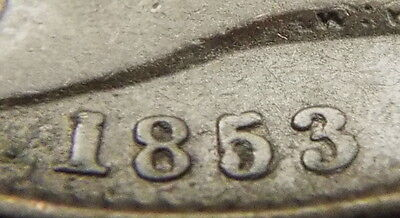 UK Britain 1853 Halfpenny 1/2 Penny Repunched date 1853/53 British Error Coin