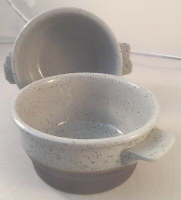 x2 Pottery Purbeck side Entree Dish Grey Speckled  c.1960 / 70s ramekin pot