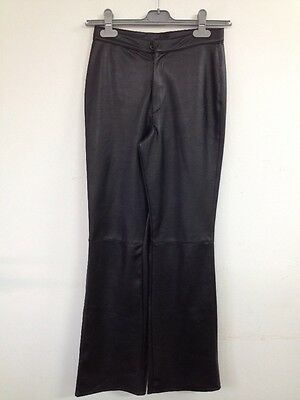 "Vintage St Michaels Black PVC ""Disco"" 90s Long Bootcut Trousers UK S (W008)"