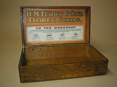 1920s D.M. Ferry & Co's. Flower Seed Wood Display Box Vintage Advertising