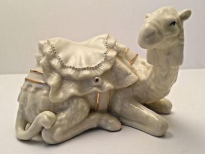 Belleek Irish Pottery Fine Parian China Camel Nativity Collection Gold Accents