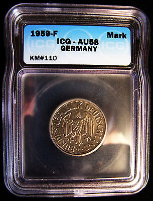 Icg Certified Au58 Almost Uncirculated 1959F Germany Republic 1 Mark German Coin