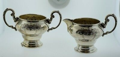 Gorham Sterling Silver Sugar Bowl & Creamer Floral Scroll Design 1009 1010