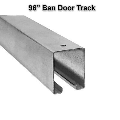 "96"" Box Rail Track Barn Door Hanging Overhead Galvanized Steel Sliding Trolley"