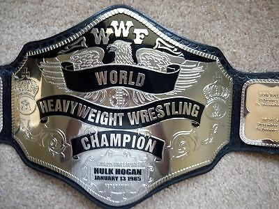 H H Wrestling Championship Replica 5 Metal Silver Polish Real Leather Belt 1985