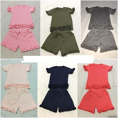 Girls Kids Frill Ruffle Detail Top Bottom T-Shirt & Shorts Ord Set Short  2-13 Y