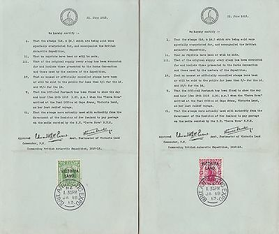 1913 VICTORIA LAND  - SG n° A2/A3  British Antarctic Expedition on certificate