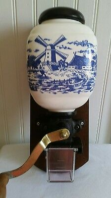 Vintage Delft Blue Porcelain Cast Iron Coffee Grinder Hand Crank Wall Mount