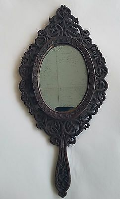 Antique Black Forest Hand Mirror Hand Carved - Original Glass