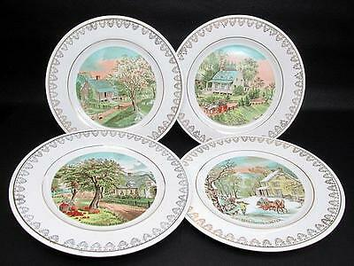 Set of 4 Currier & Ives Four Seasons Collector Plates c1980's