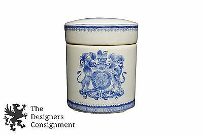 """Ceramic Lidded Biscuit Jar Blue White Canister Ship Crest Tea Caddy Coffee 6.5"""""""