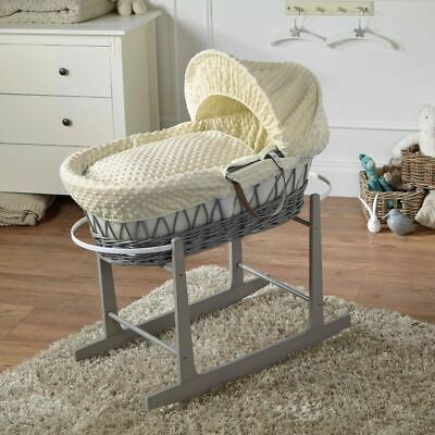 Cream Dimple Grey Wicker Moses Basket And Rocking Stand