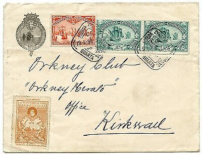 Portugal 1898 pair 2½r and 5r Vasco da Gama on cover to Kirkwall, Orkney