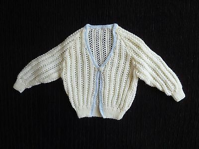 Baby clothes BOY newborn 0-1m cream/blue-edged hand-knitted cardigan patterned