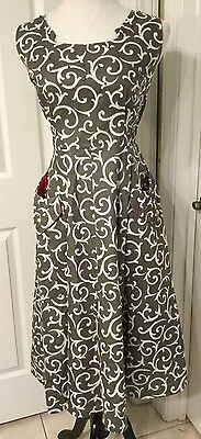 Gorgeous Cover Girl Of Miami Vintage (1950's?) Dress Gray White Filigree Red Acc