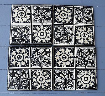 """4 Antique Victorian Craven Dunnill Tile English Aesthetic Floral Blue White 6"""""""