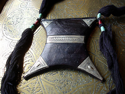 Niger Tuareg camel leather hand engraved solid amulet pendant