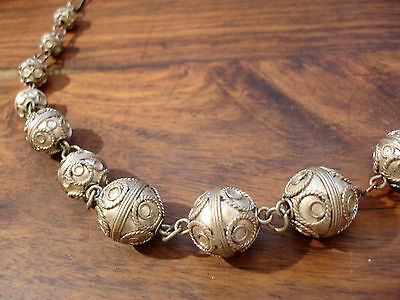 Moroccan tarnished  round metal bead necklace