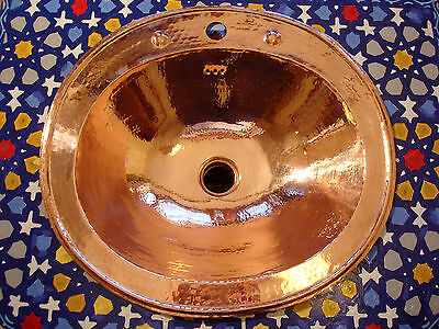 Copper Moroccan hand hammered plain large  oval/round sink wash basin