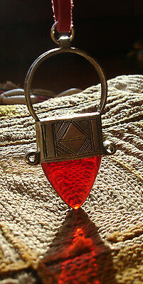 Red and silver hand engraved  Niger Tuareg pendant necklace with red tie