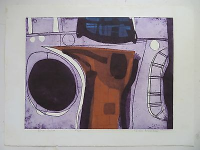 JOHN BRUNSDON (1933-2014) LIMITED EDITION ETCHING pencil signed RARE ABSTRACT