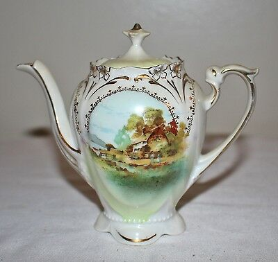 """Small Antique Hand Painted Teapot with Lid Accented in Gold 6"""""""