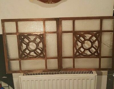2 Incredibly Rare 19th Century Copper Window Panel Pane Arts & Craft Art Deco