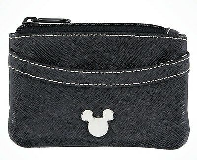 Disney Parks Mickey Mouse Icon Zip Small Black Pocket Wallet Coin Pure