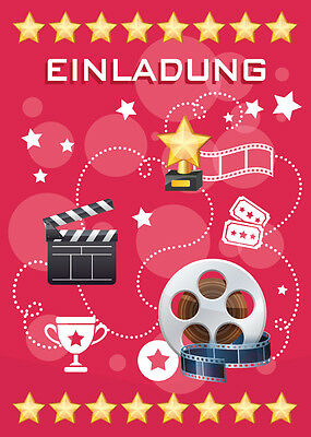 einladungskarten einladungen kinder geburtstag kino party rot cinema party eur 4 95 picclick de. Black Bedroom Furniture Sets. Home Design Ideas