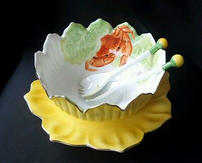 Vintage Noritake Yellow Large Lustreware Art Deco Retro Crab Salad Bowl set