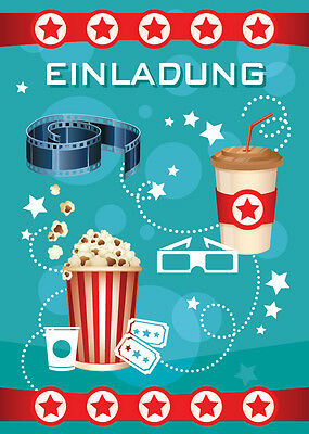 Einladungskarten Einladungen Kinder Geburtstag KINO-PARTY blau/ CINEMA-PARTY