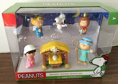 Peanuts Nativity Figures Deluxe Set Lucy Snoopy Sally Patty Charlie Brown Etc