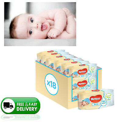 Huggies Pure Baby Wipes 18 Pack (Total 1008) Fragrance Free Express Delivery