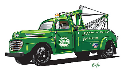Cities Service 1950 Ford Tow Truck Holmes Wrecker Illustration Picture Print