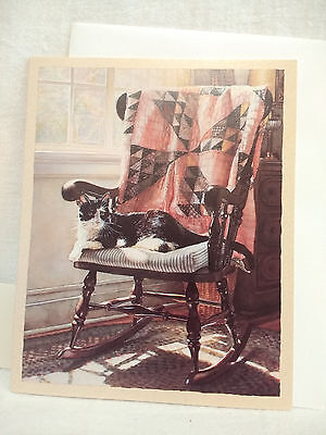 Steve Hanks The Cat's Lair Blank Note Cards Bookmark Deluxe Cat on Rocking Chair