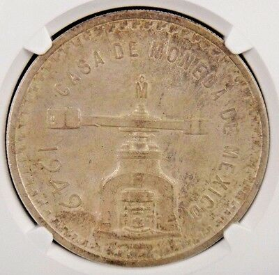 1949 MO Mexico Silver 1 Onza Certified NGC MS64