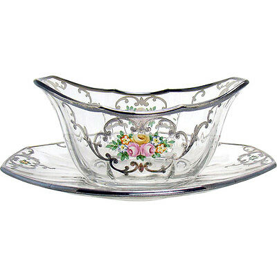 Enameled Glass Finger Bowl and Under-plate with Sterling Overlay - 1900's