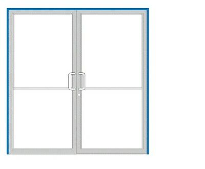 Commercial Storefront Pair Doors 6X7 Bronze Anodized With Non-Transom Frame
