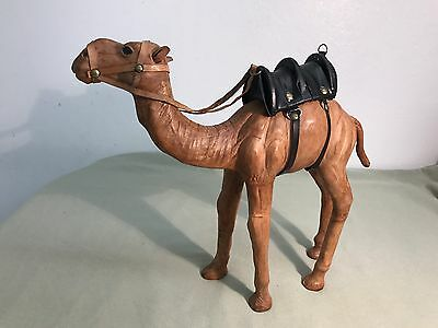 Large vintage wrapped leather camel figurine with saddle 10 Inches High