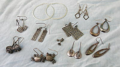 Bulk Lot 11 Pairs Sterling Silver Earrings Some Vintage Great Condition