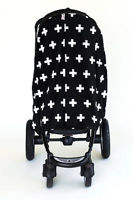 Bambella Stroller Pram Mosquito Cover Protector Privacy Curtain Crosses Black