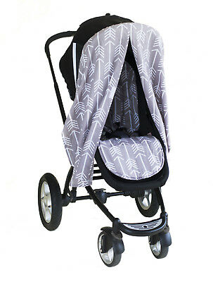 Bambella Stroller Pram Mosquito Cover Protector Privacy Curtain Arrows Grey