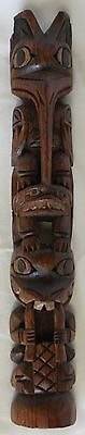 "Vintage Ray Williams Ditidaht Nation Master Carver 11.5"" Hand Carved Totem Pole"