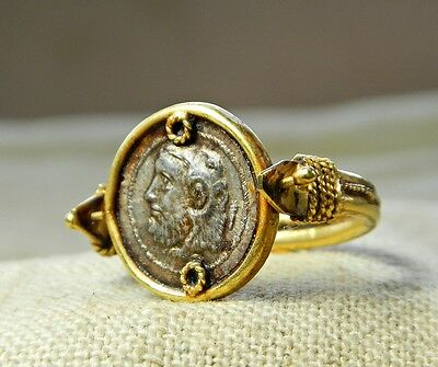 OUTSTANDING ANCIENT ROMAN GOLD 24 ct RING WITH SILVER SWIVEL COIN INTAGLIO