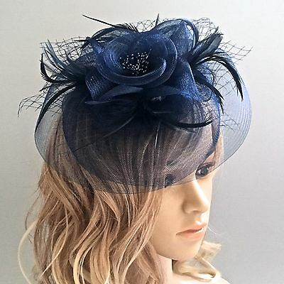Round Mesh with Flower, Feathers & Netting Hair Clip & Headband Dual Fascinator