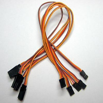 RC Servo Extension Leads 300mm 22AWG x 5 pieces JR Colour/Plugs (Or Rd Br)