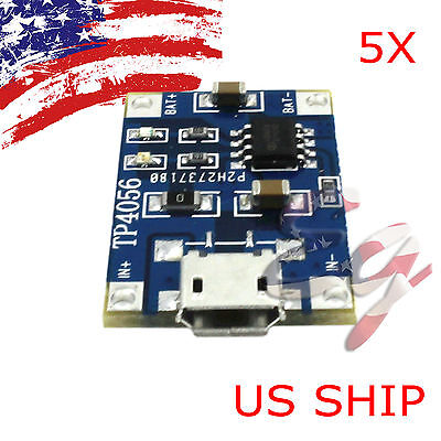 2pcs 5V Micro USB 1A 18650 Lithium Battery Charging Board Charger Module TP4056
