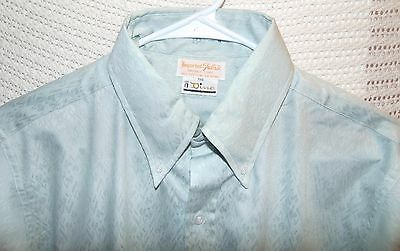 VTG The Dino French Cuff Textured Leaves Mint Green Dress Shirt 15 1/2 Nice